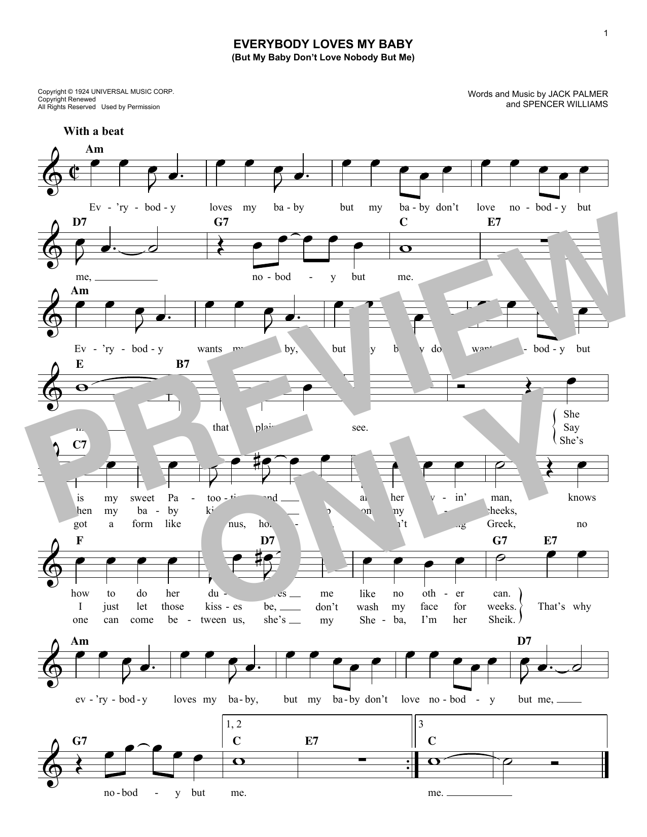 Everybody Loves My Baby (But My Baby Don't Love Nobody But Me) (Lead Sheet / Fake Book)