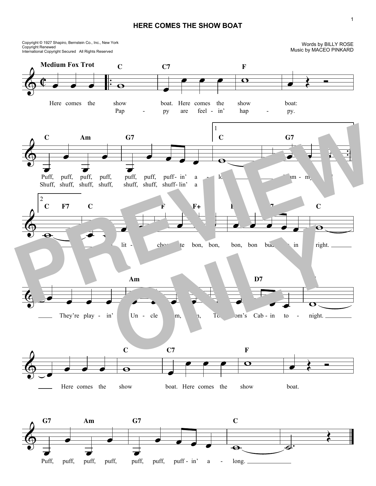 Here Comes The Show Boat (Lead Sheet / Fake Book)
