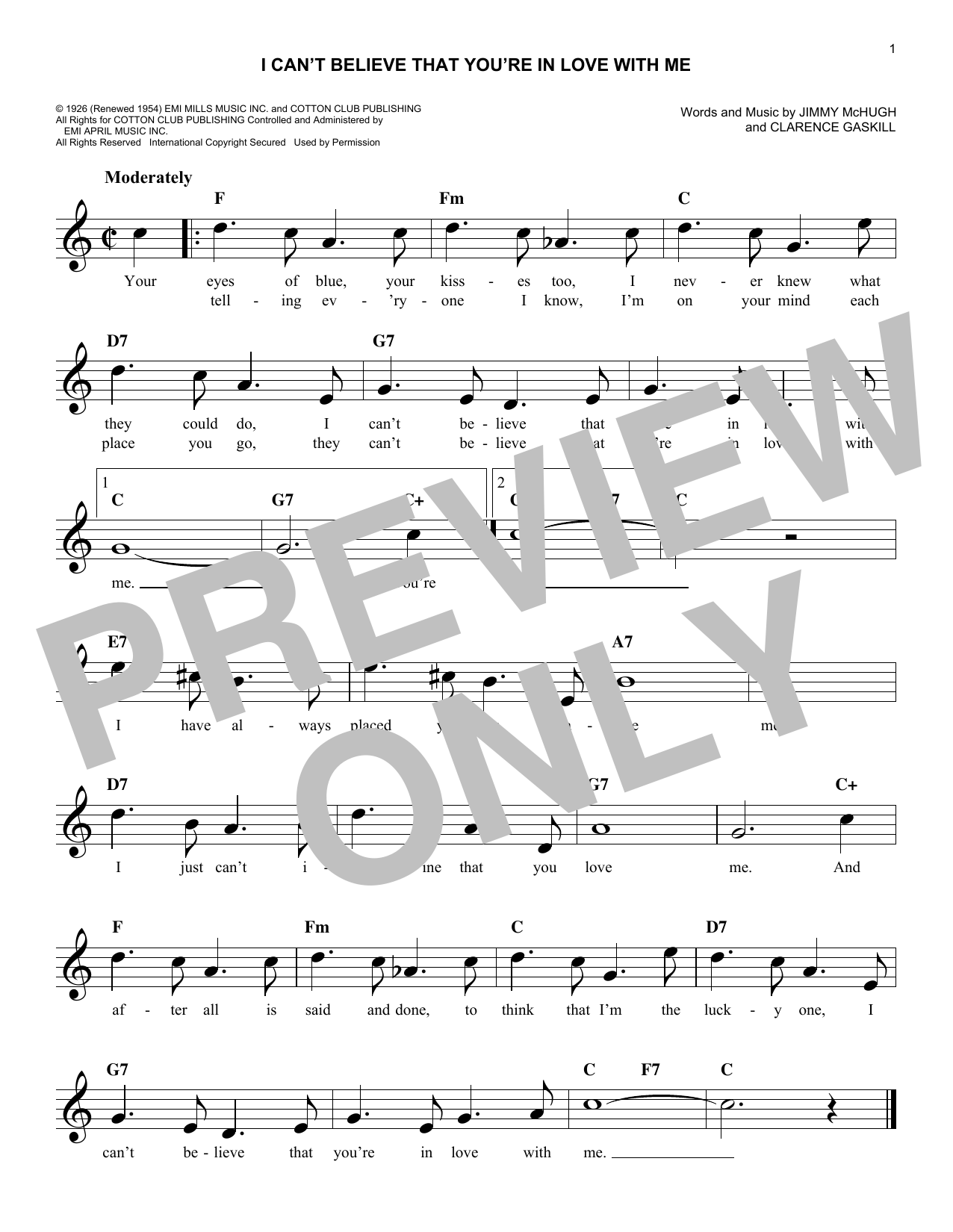I Can't Believe That You're In Love With Me Sheet Music
