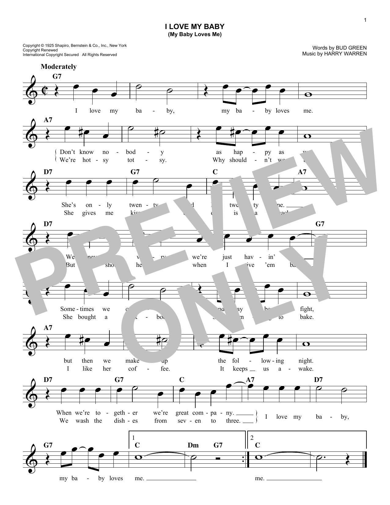 I Love My Baby (My Baby Loves Me) Sheet Music