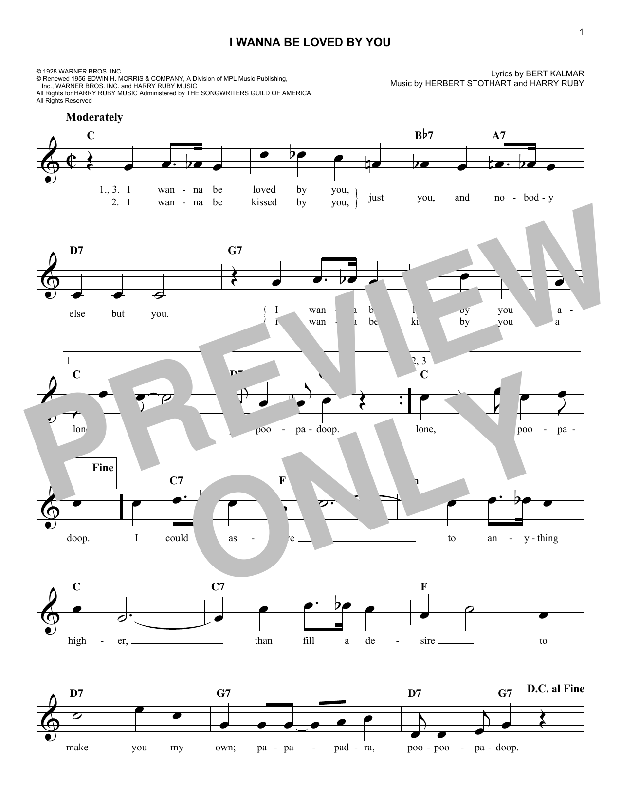 I Wanna Be Loved By You Sheet Music