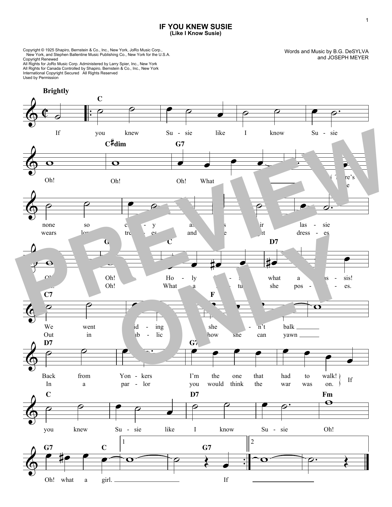 If You Knew Susie (Like I Know Susie) (Lead Sheet / Fake Book)