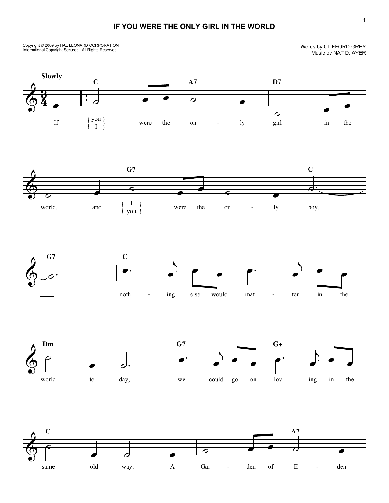 If You Were The Only Girl In The World Sheet Music