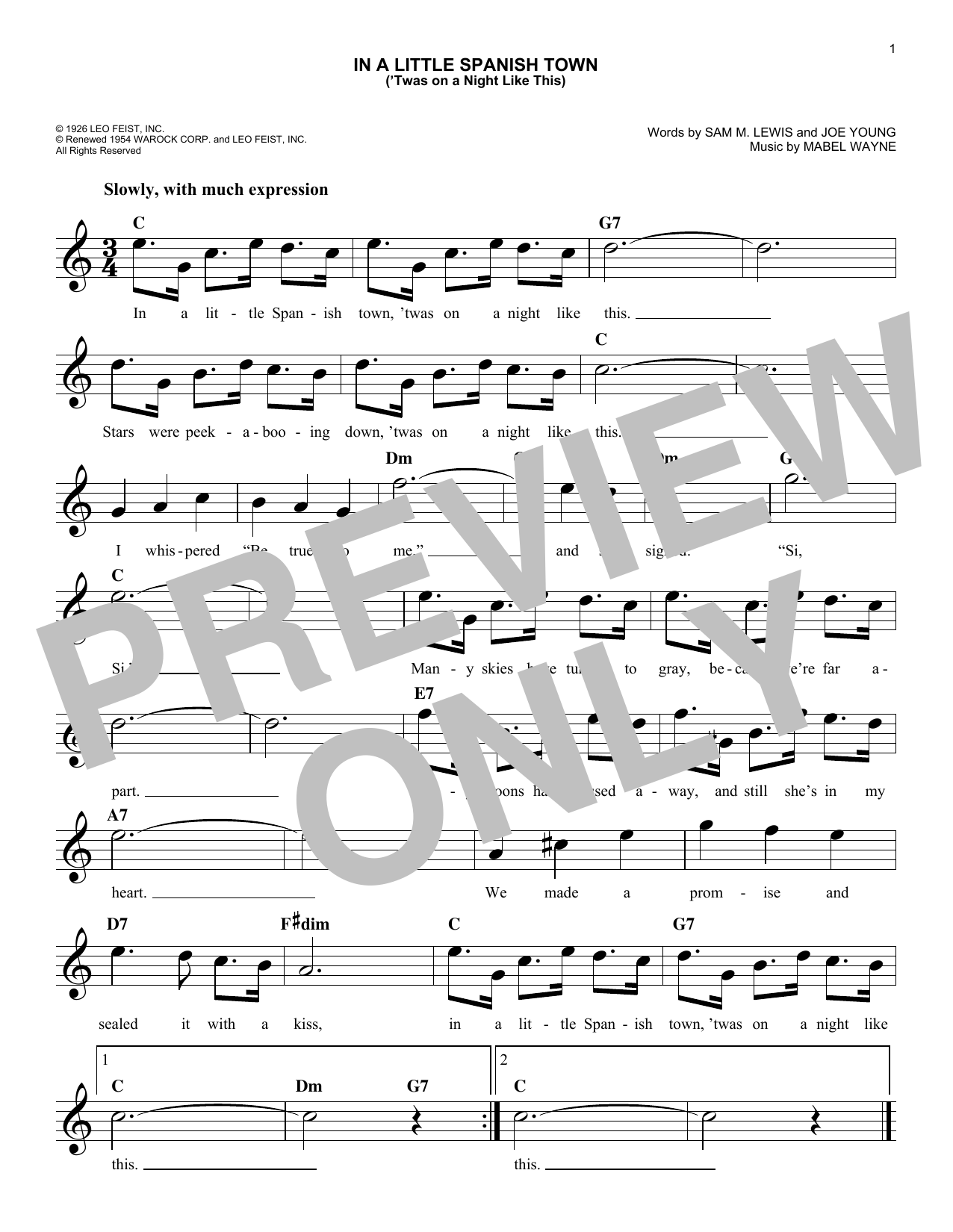 In A Little Spanish Town ('Twas On A Night Like This) Sheet Music