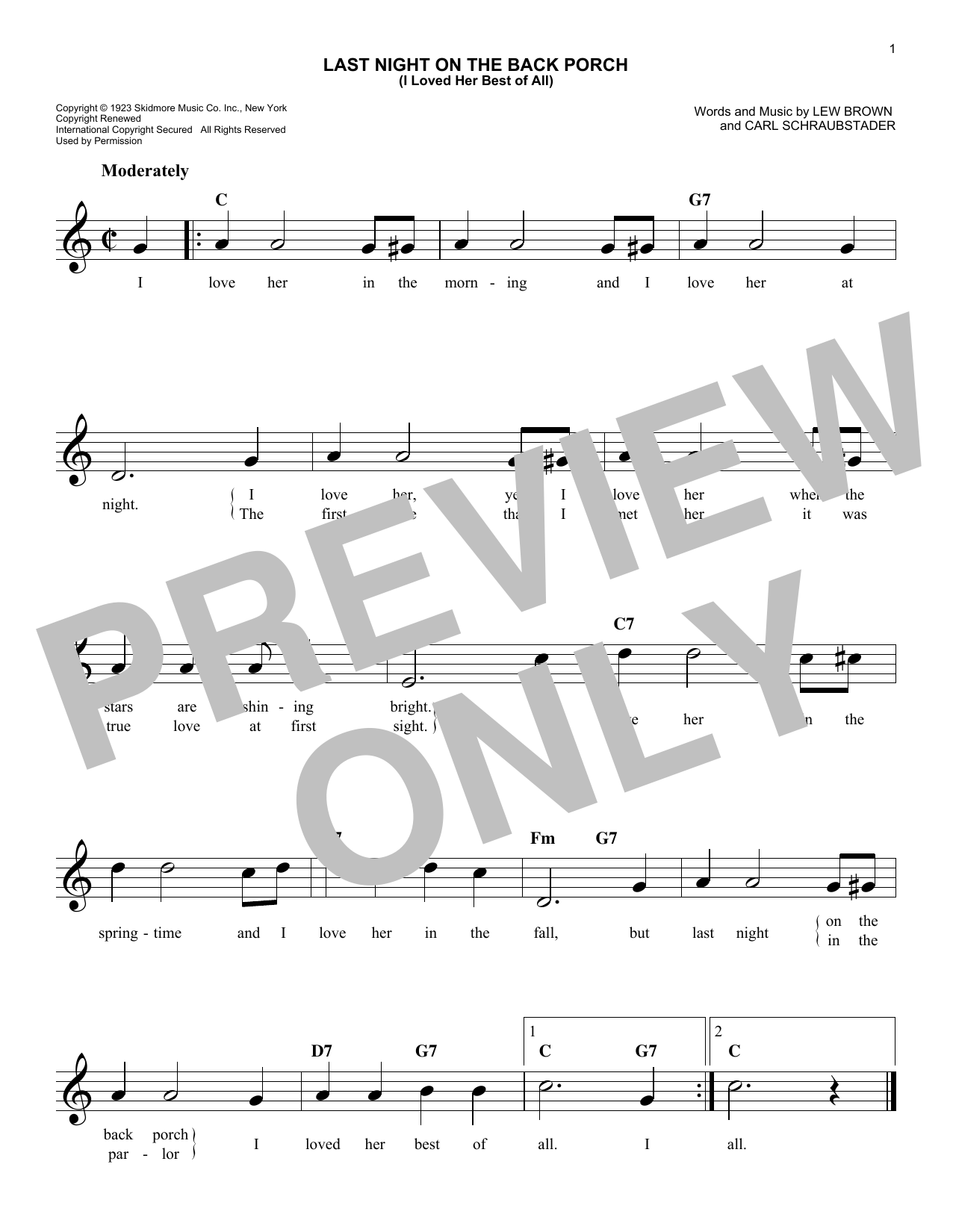 Last Night On The Back Porch (I Loved Her Best Of All) Sheet Music