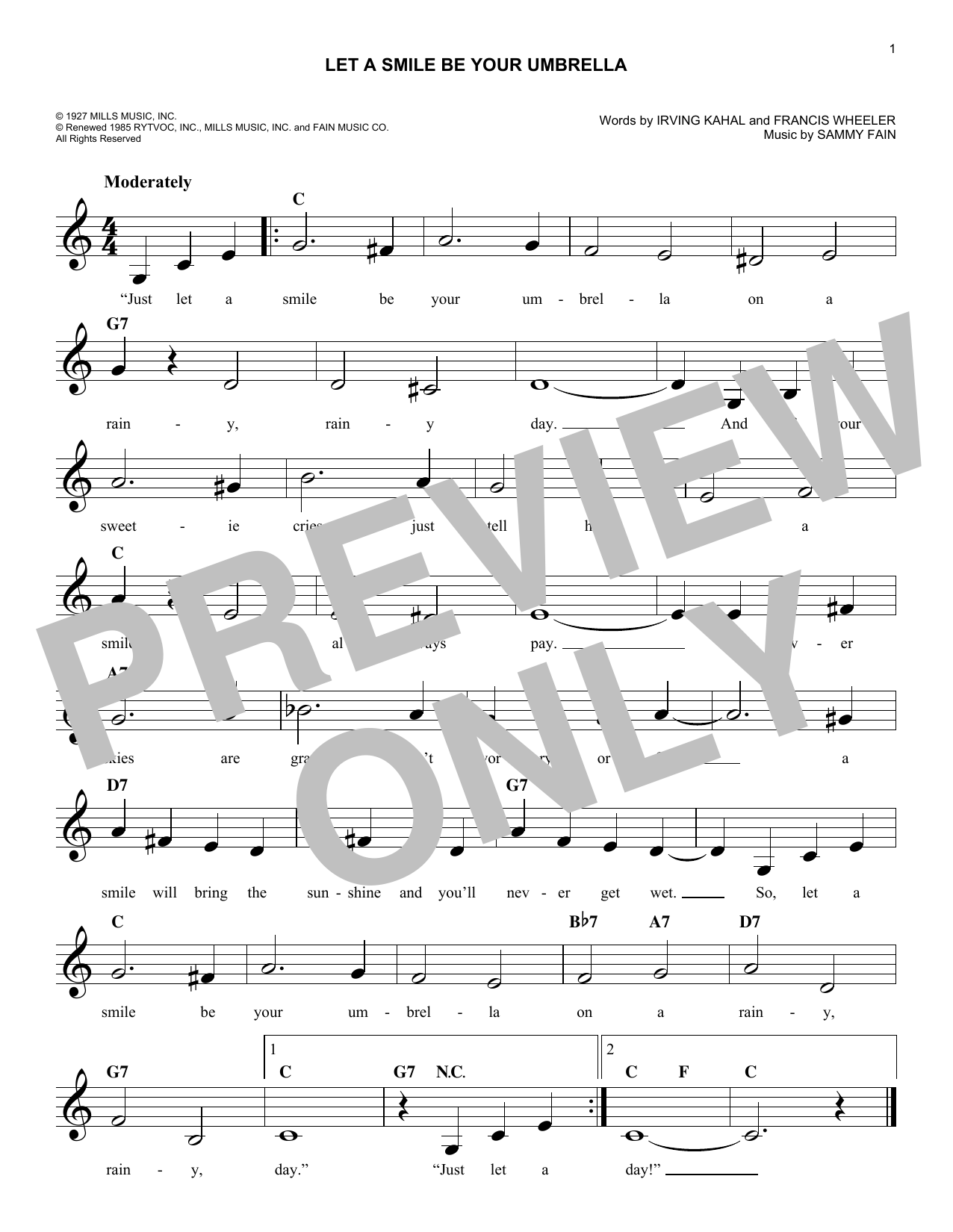 Let A Smile Be Your Umbrella (Lead Sheet / Fake Book)