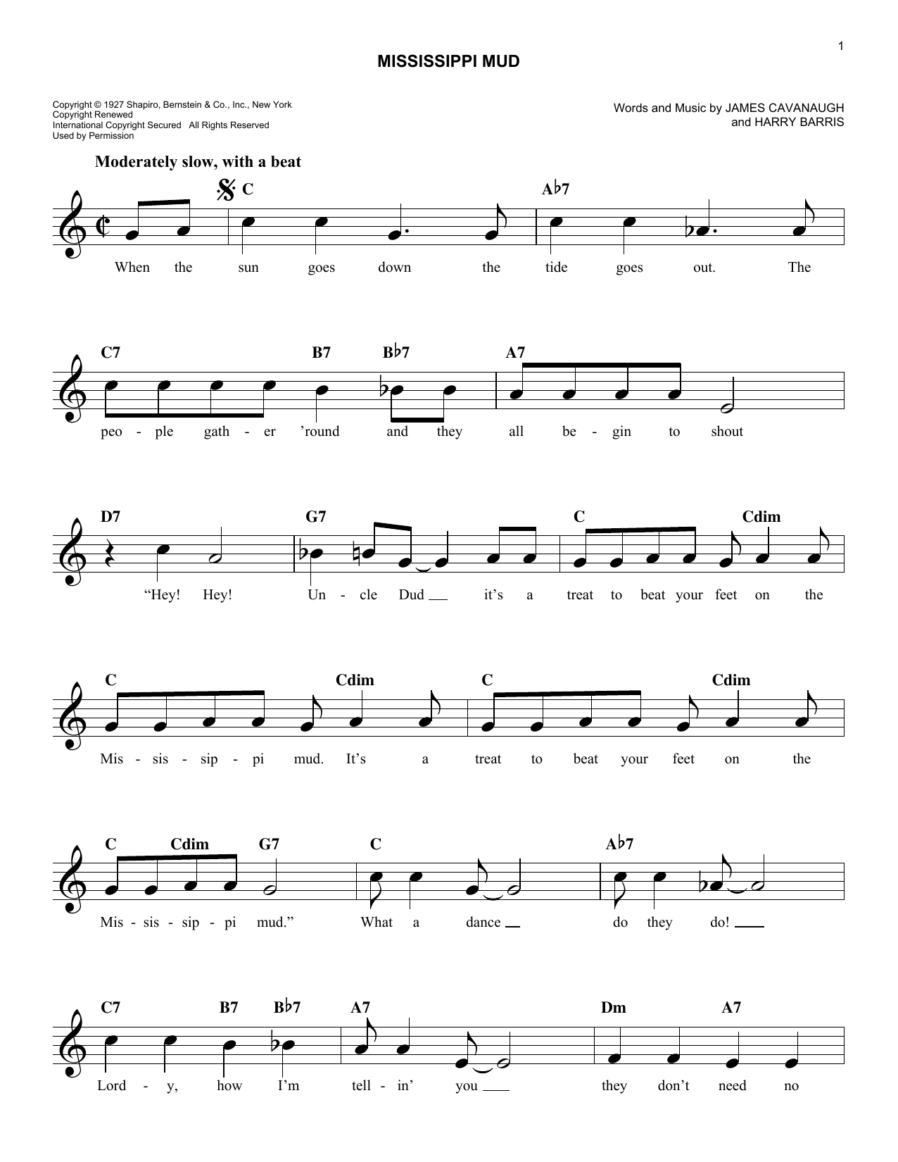 Mississippi Mud Sheet Music