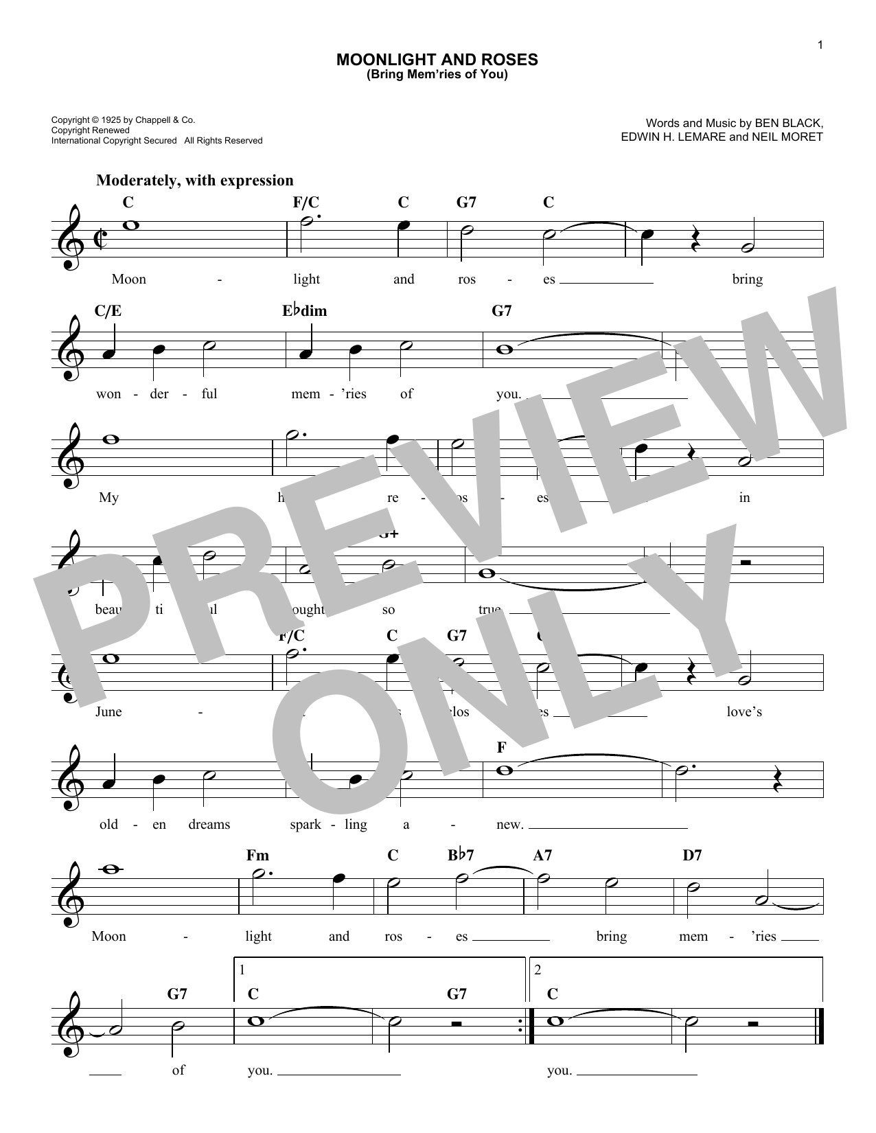 Moonlight And Roses (Bring Mem'ries Of You) (Lead Sheet / Fake Book)