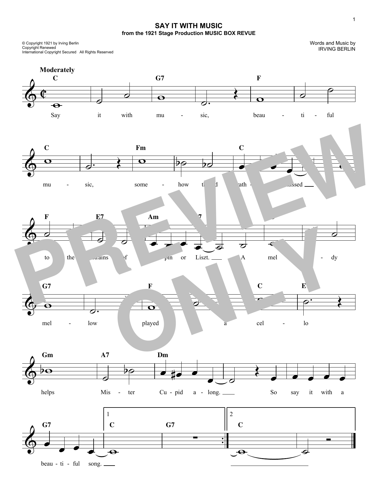 Say It With Music (Lead Sheet / Fake Book)