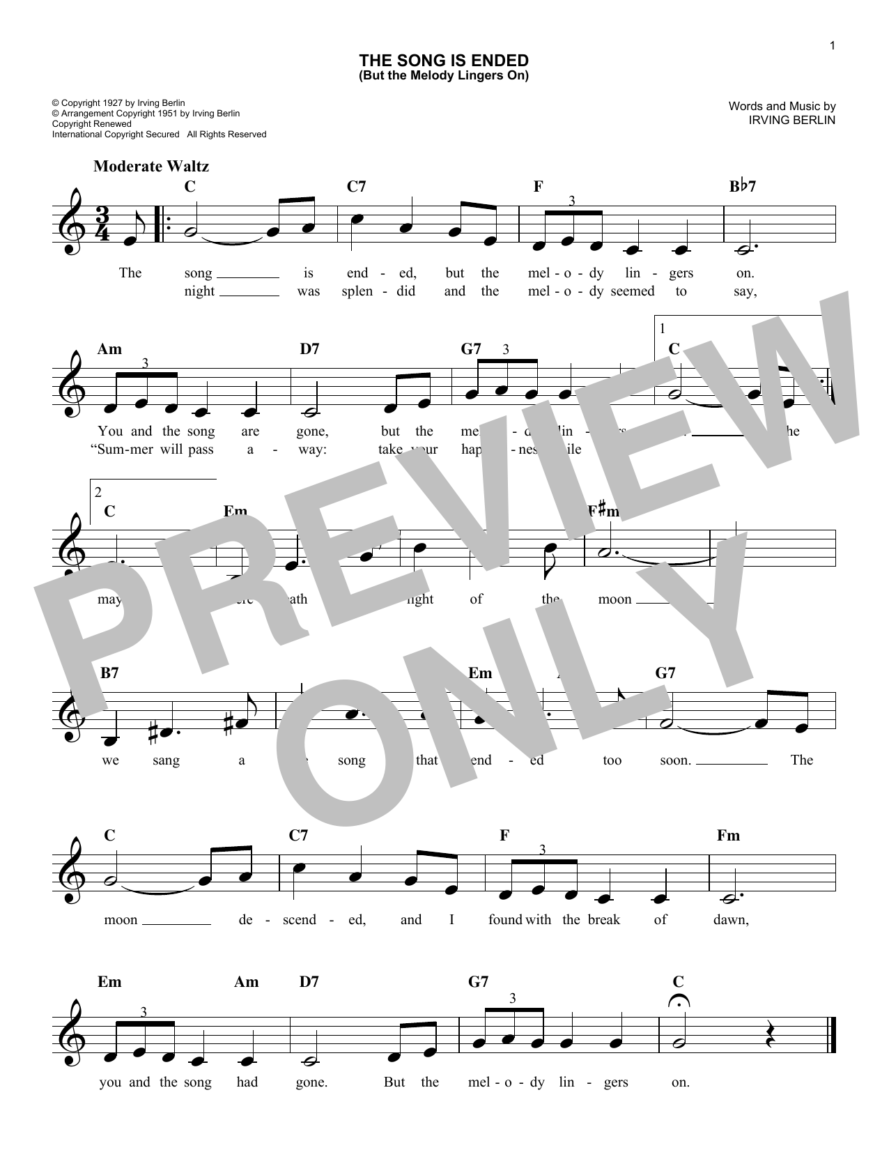 The Song Is Ended (But The Melody Lingers On) (Lead Sheet / Fake Book)