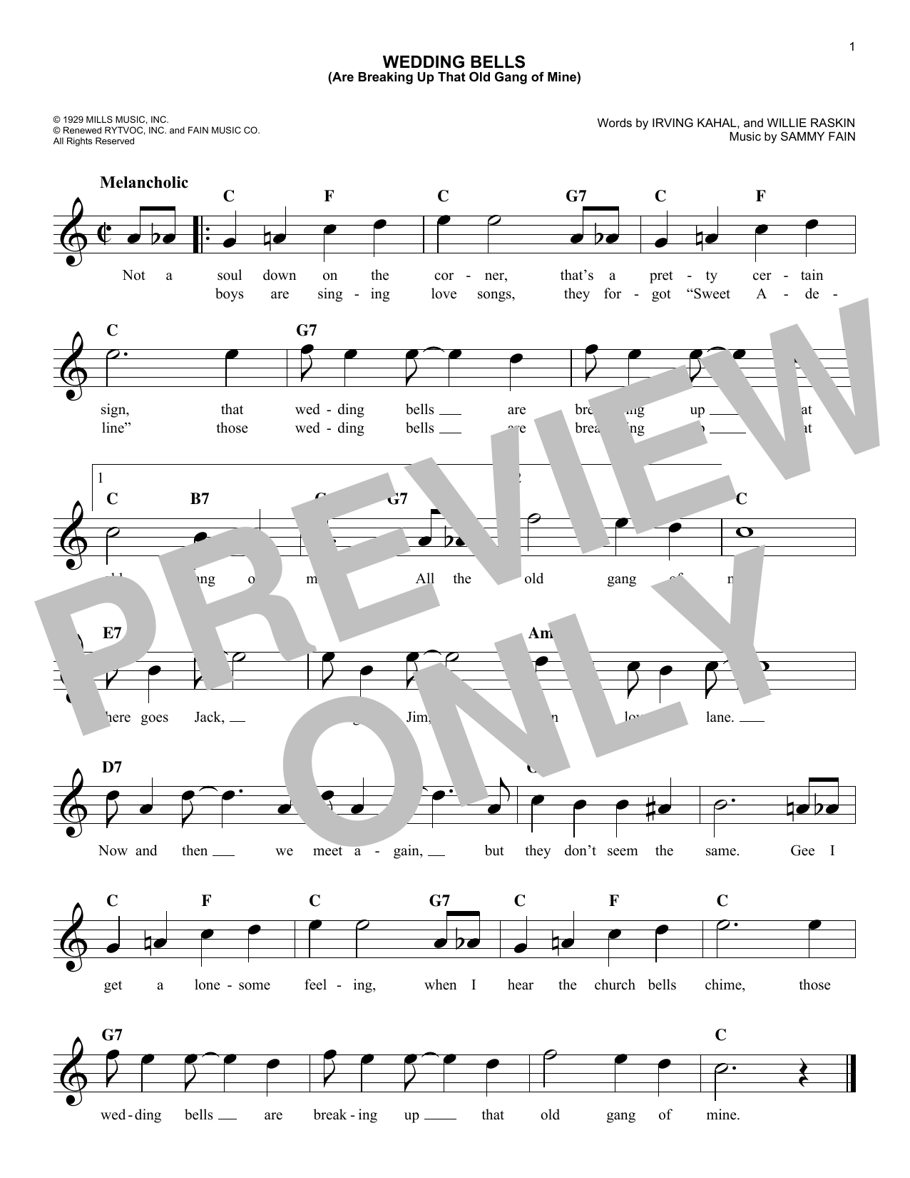 Wedding Bells (Are Breaking Up That Old Gang Of Mine) (Lead Sheet / Fake Book)