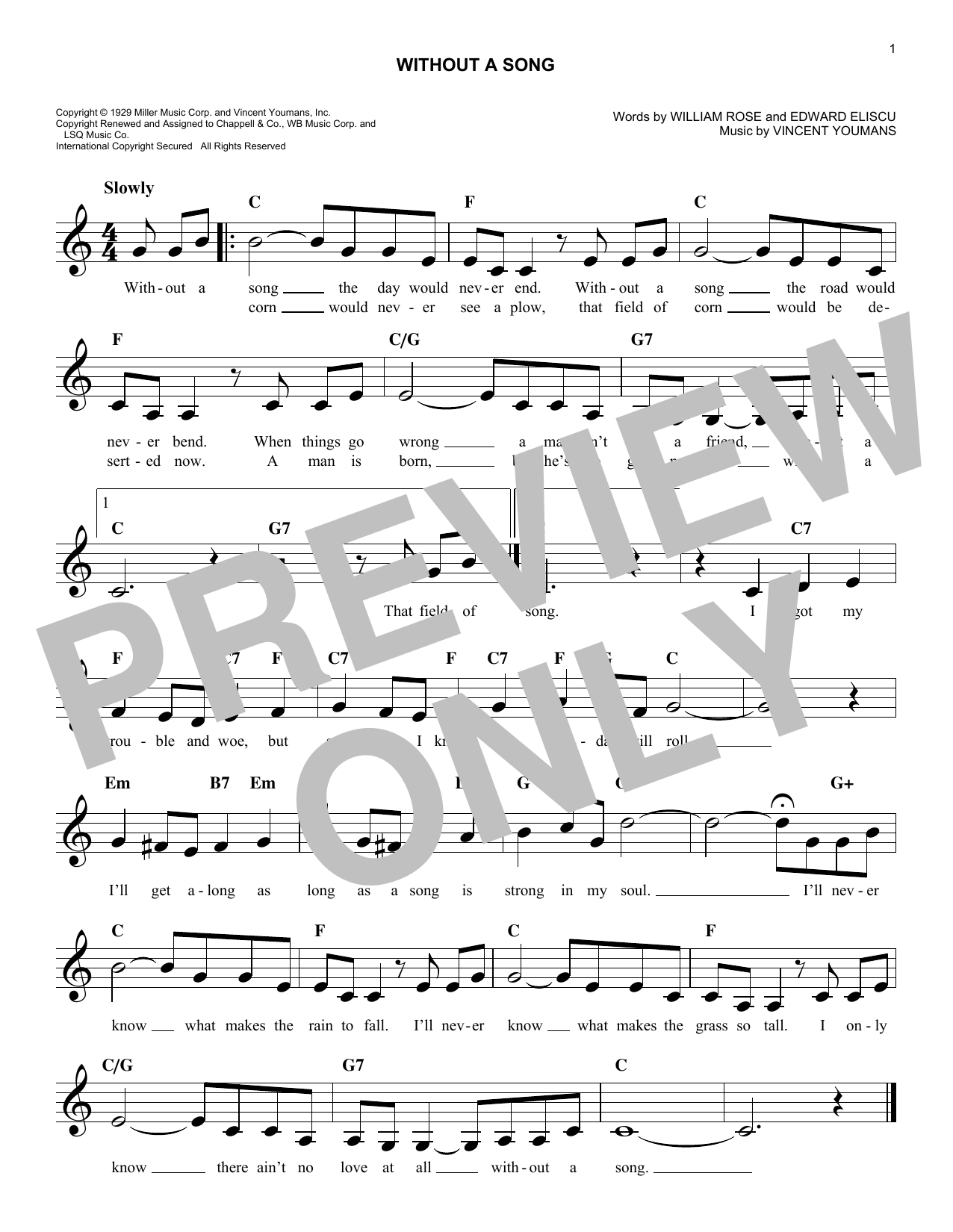 Without A Song (Lead Sheet / Fake Book)