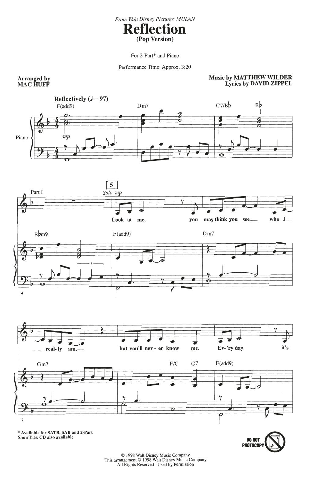 Reflection (Pop Version) (from Mulan) (arr. Mac Huff) (2-Part Choir)