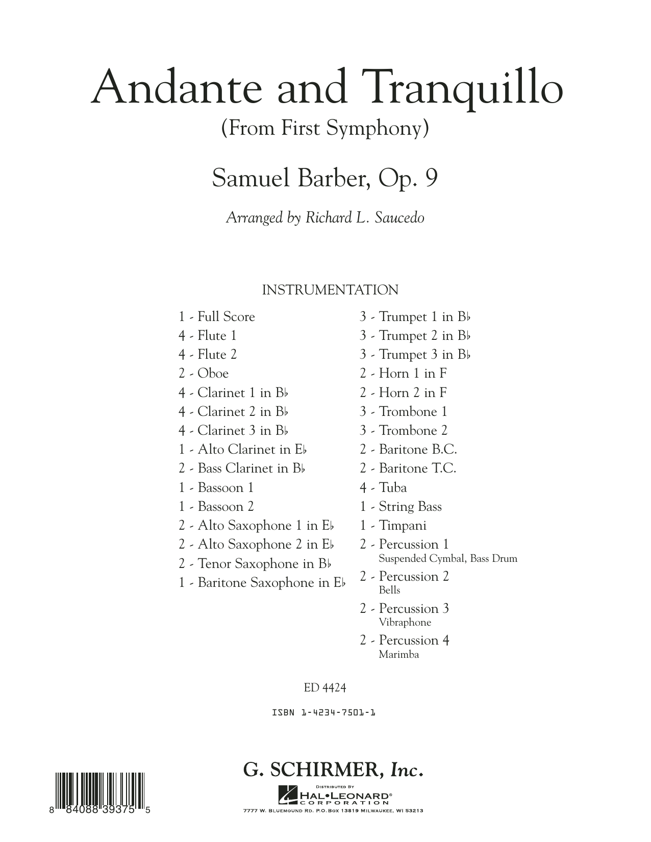 Andante and Tranquillo (from First Symphony) (COMPLETE) sheet music for concert band by Samuel Barber and Richard L. Saucedo. Score Image Preview.