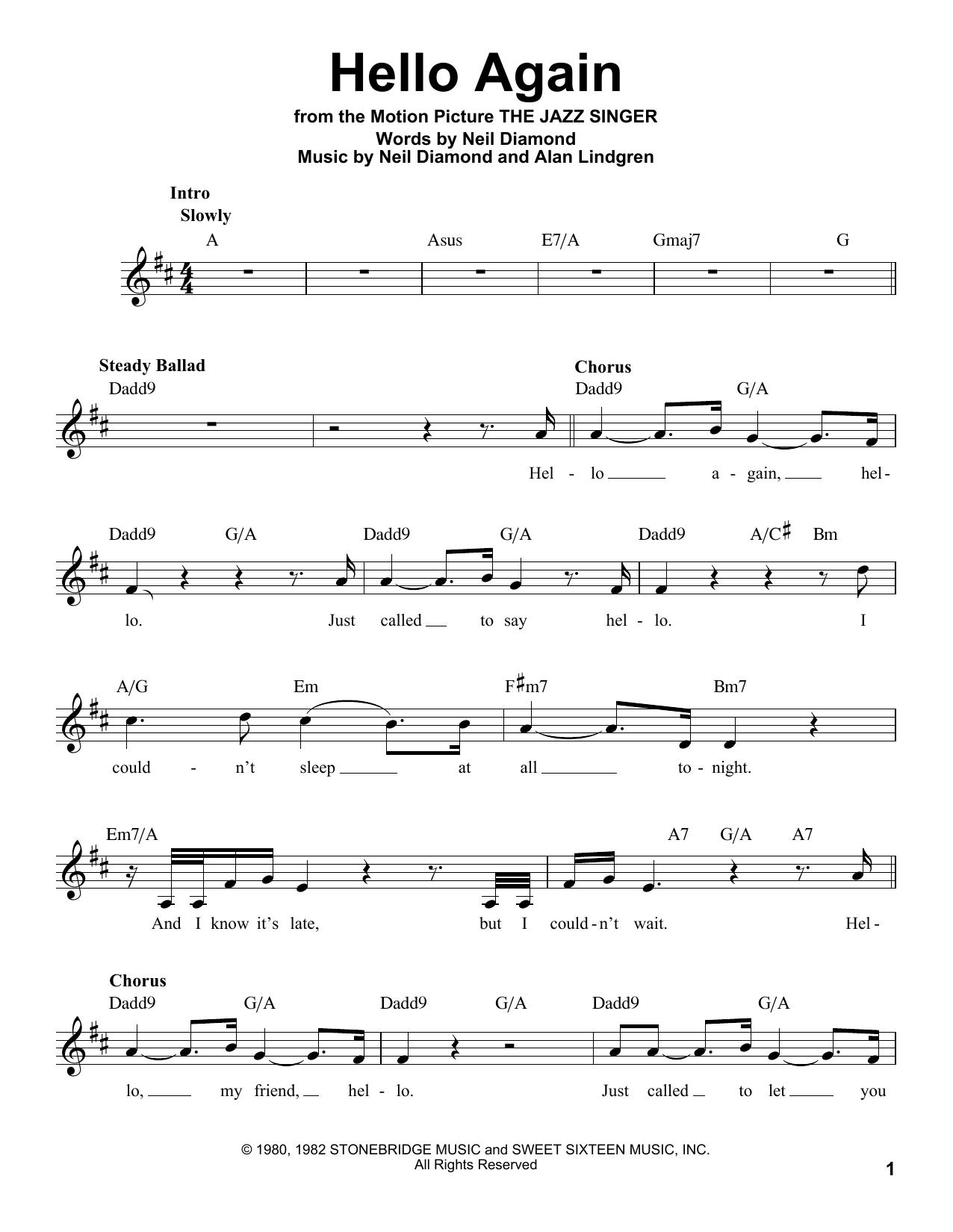 Hello Again Sheet Music