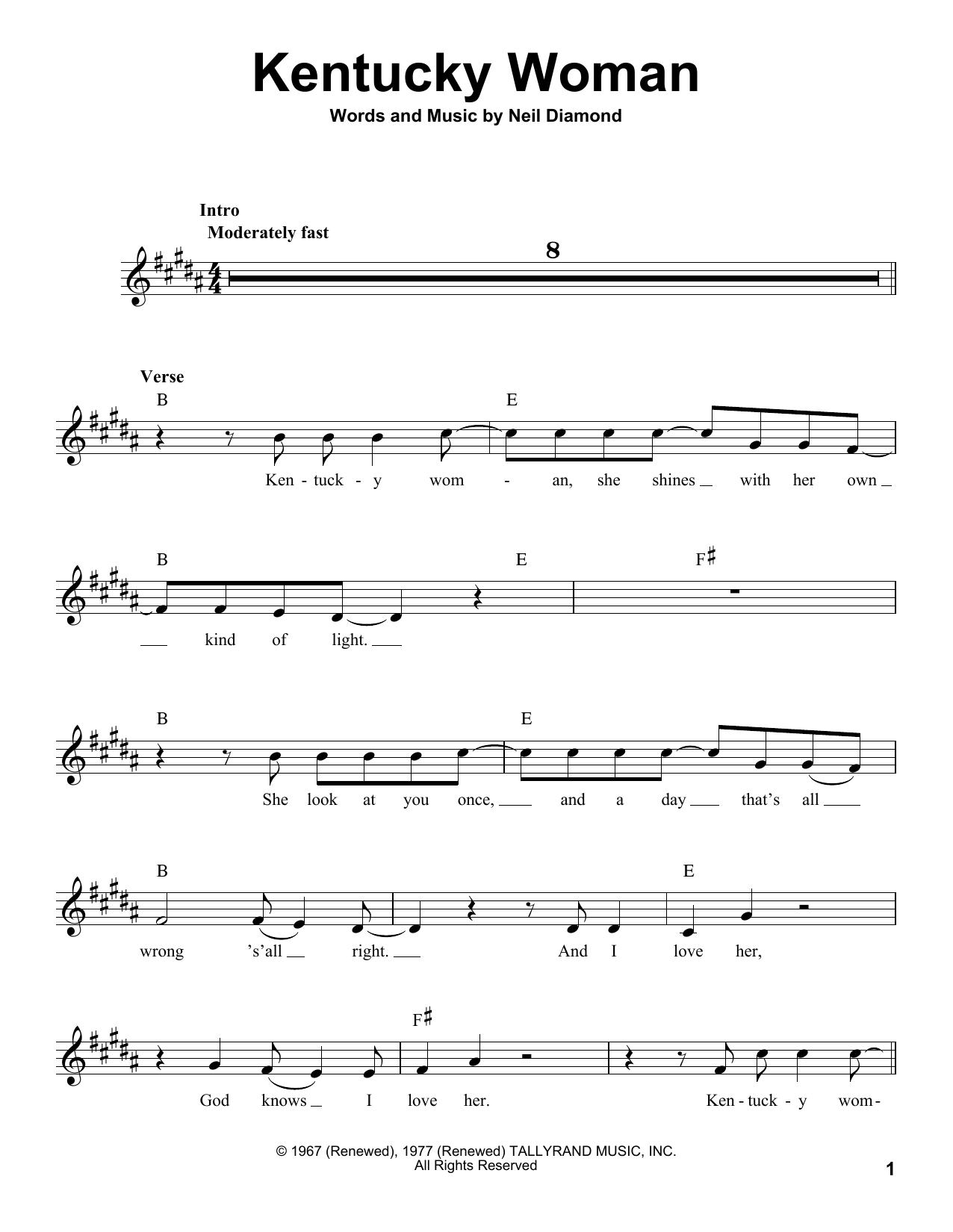 Kentucky Woman Sheet Music