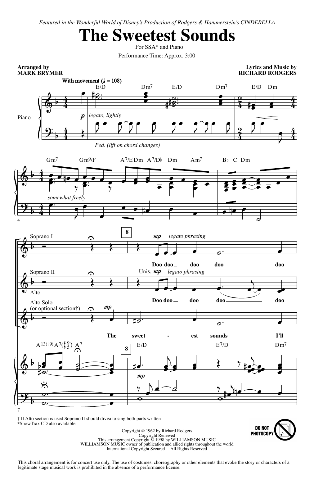 Partition chorale The Sweetest Sounds (from Cinderella) (arr. Mark Brymer) de Brandy - SSA
