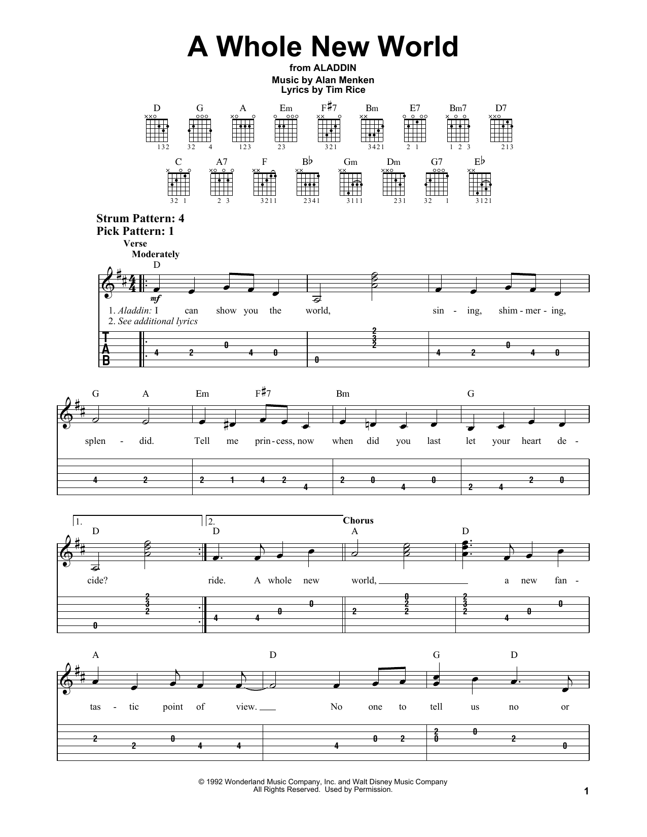 A Whole New World (from Aladdin) (Easy Guitar Tab)
