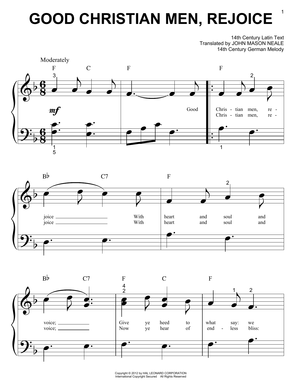 Partition piano Good Christian Men, Rejoice de 14th Century German Melody - Autre