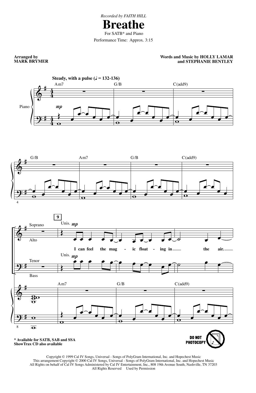 Breathe (arr. Mark Brymer) (SATB Choir)