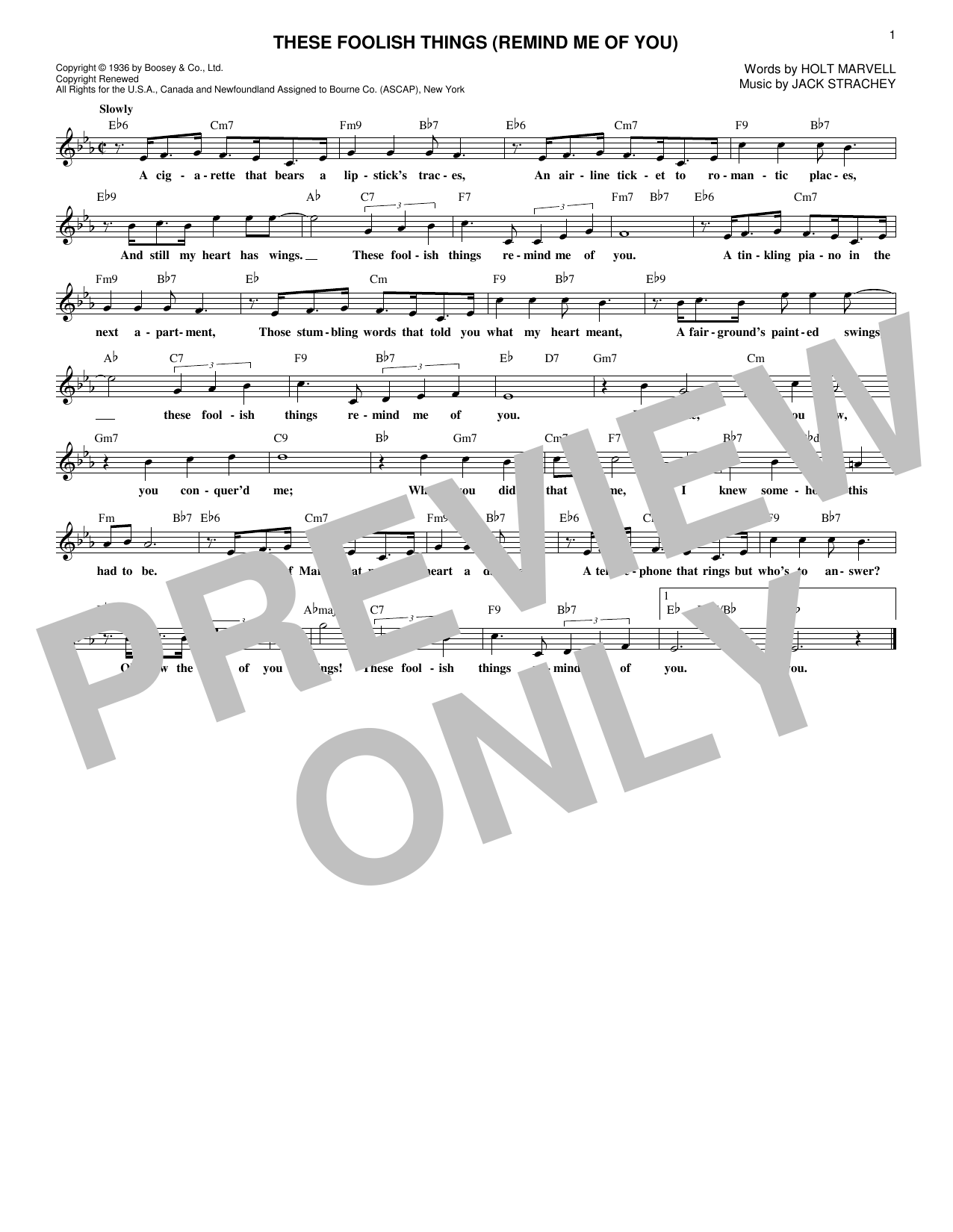 These Foolish Things (Remind Me Of You) (Lead Sheet / Fake Book)