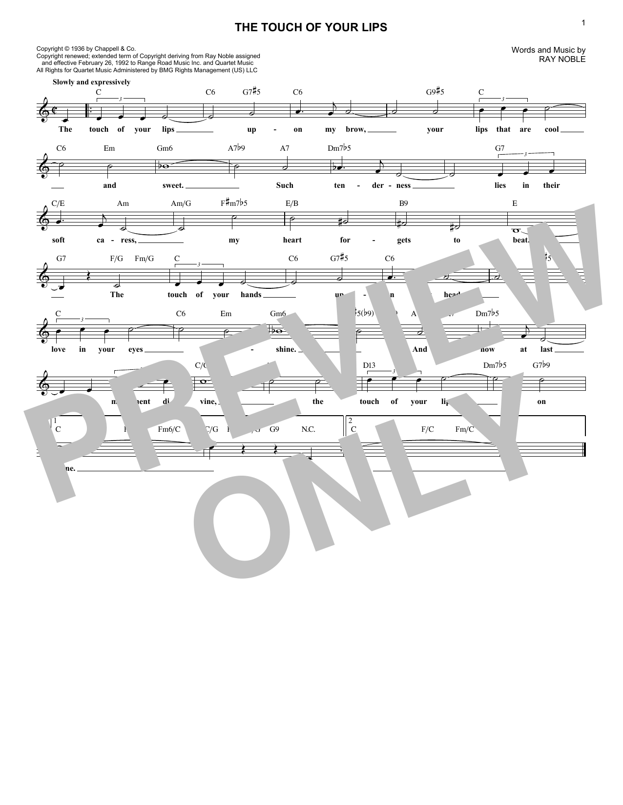 The Touch Of Your Lips (Lead Sheet / Fake Book)