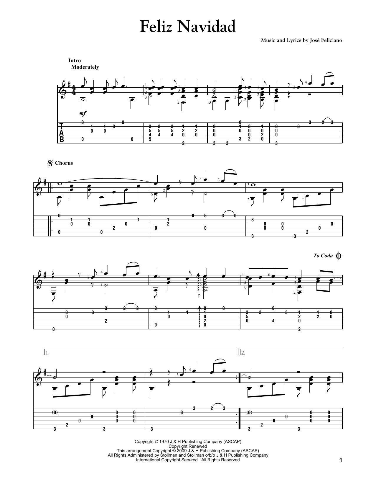 Feliz Navidad Guitar Tab By Jose Feliciano Guitar Tab 250592