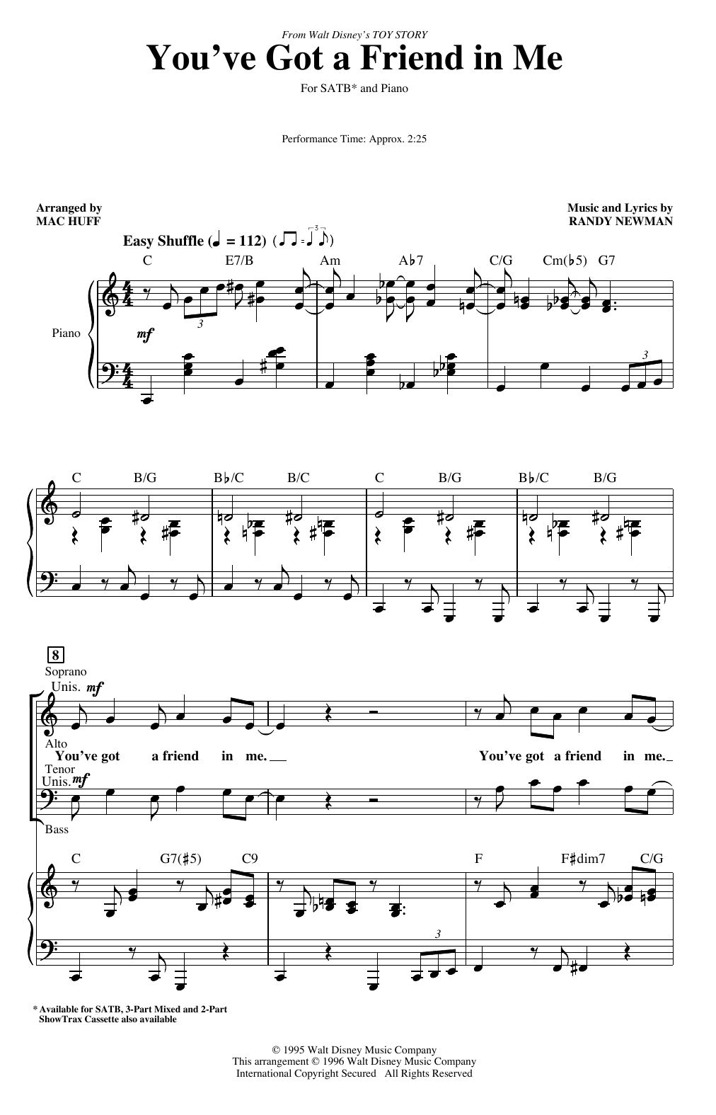 You've Got A Friend In Me (from Toy Story) (arr. Mac Huff) Sheet Music