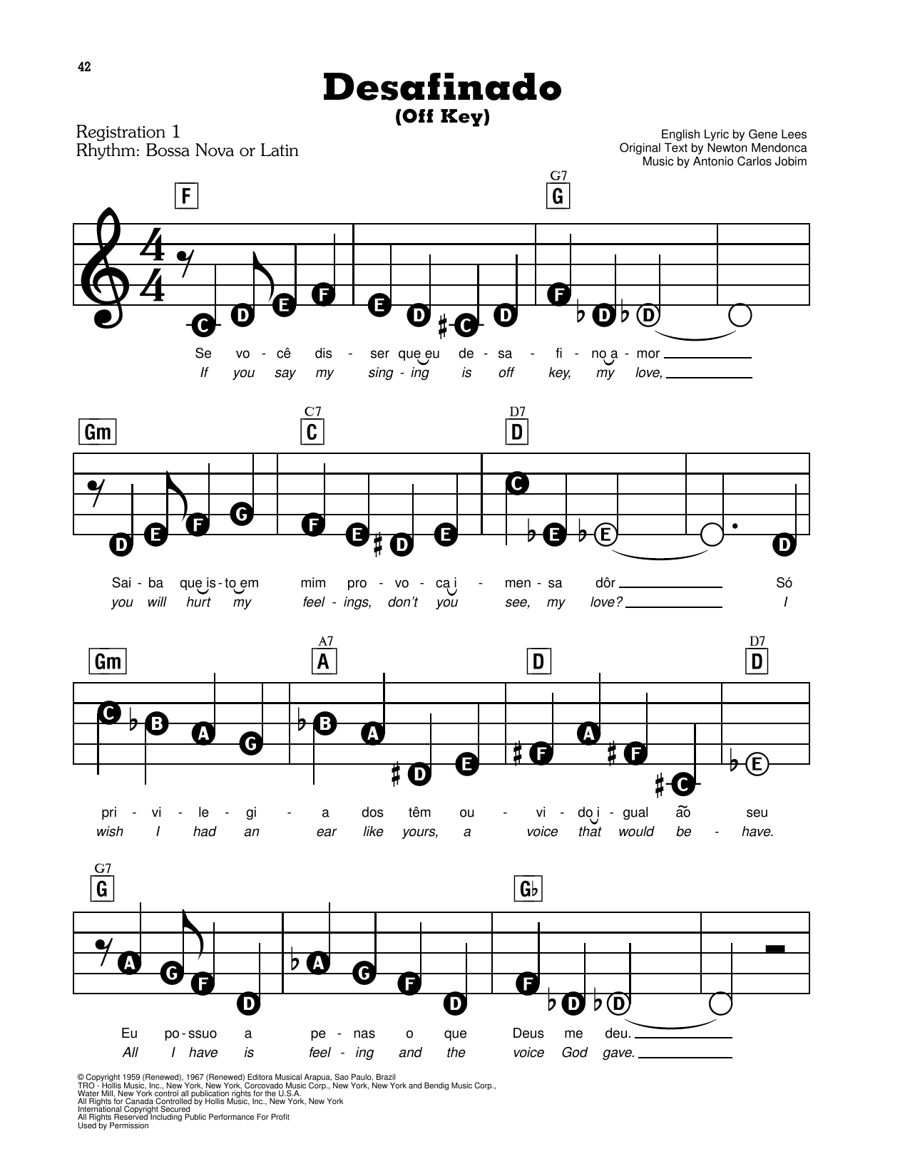Desafinado (Off Key) (E-Z Play Today)