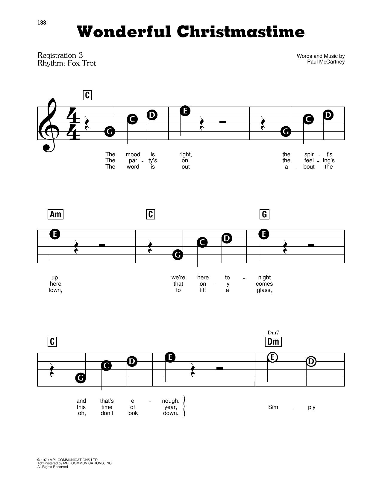 Wonderful Christmastime (E-Z Play Today)