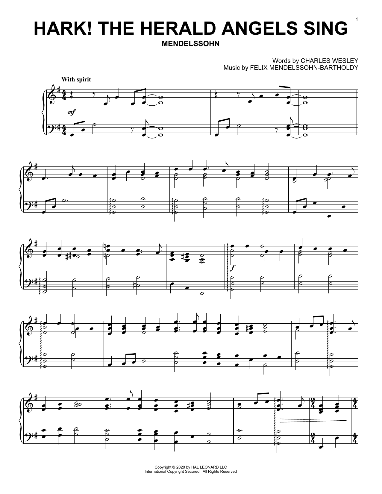 Hark! The Herald Angels Sing (Piano Solo)