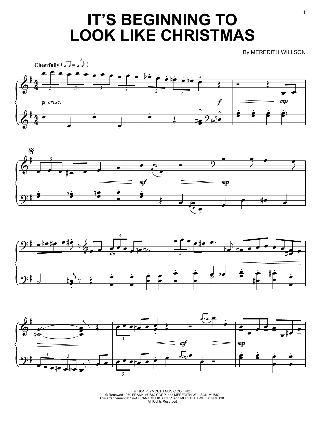 It\'s Beginning To Look Like Christmas - Print Sheet Music Now