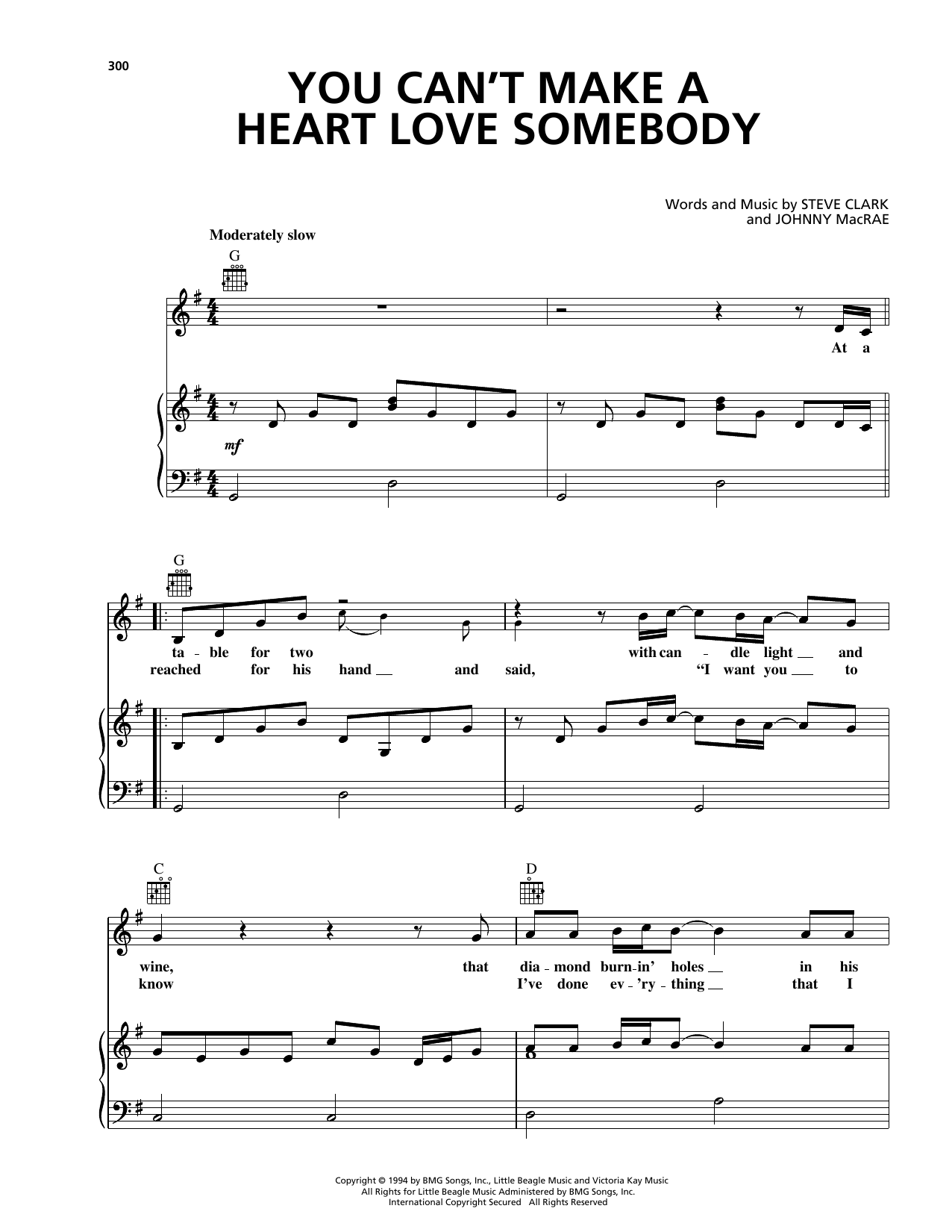 You Can't Make A Heart Love Somebody Sheet Music