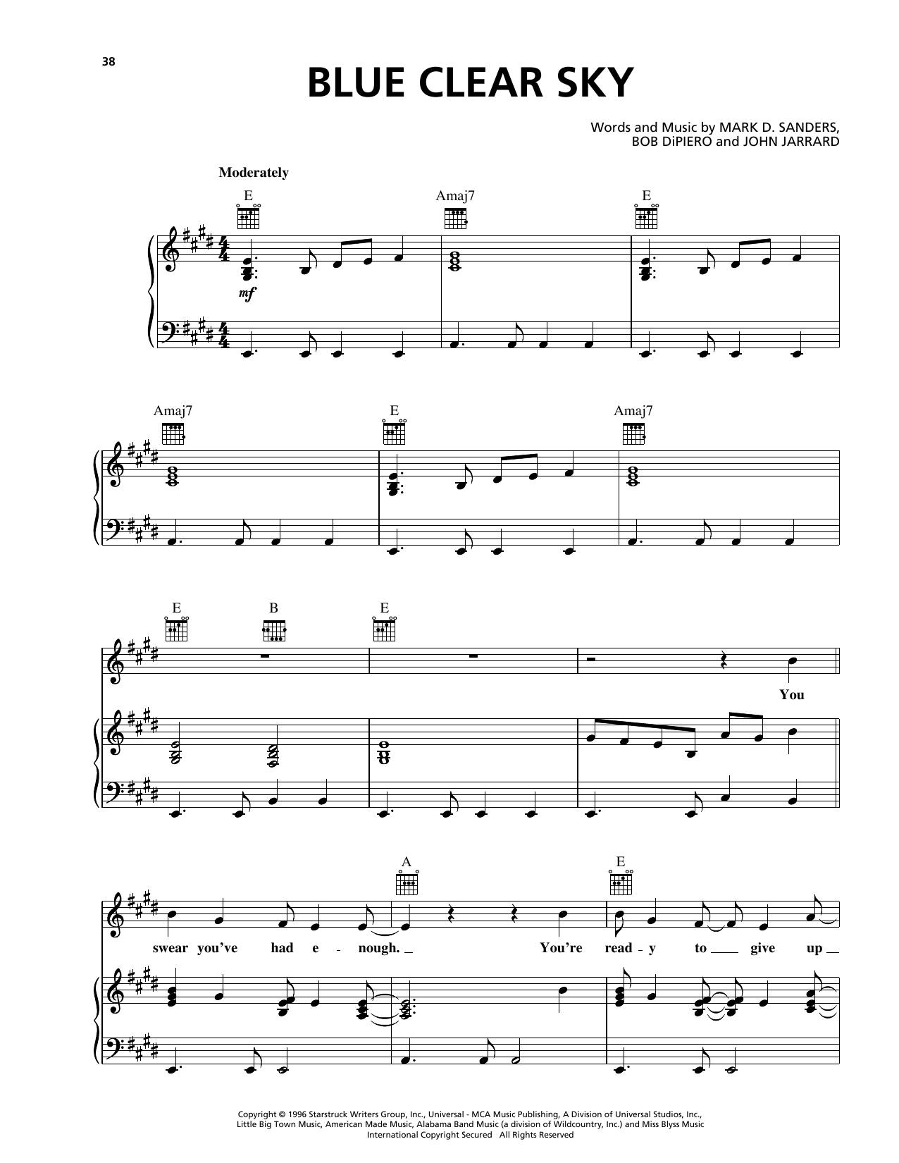 Blue Clear Sky Sheet Music