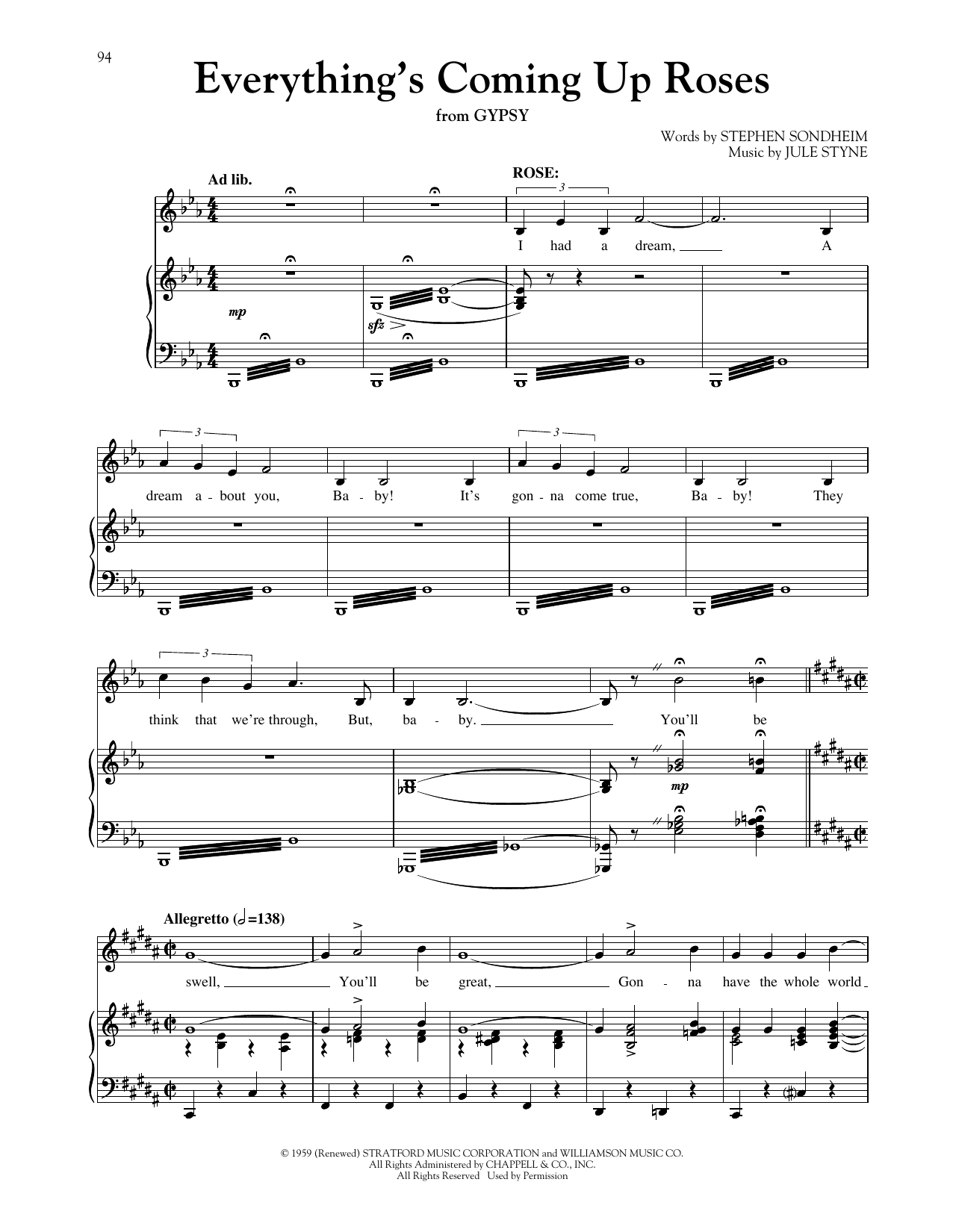 Everything's Coming Up Roses (from Gypsy) (arr. Richard Walters) (Piano & Vocal)