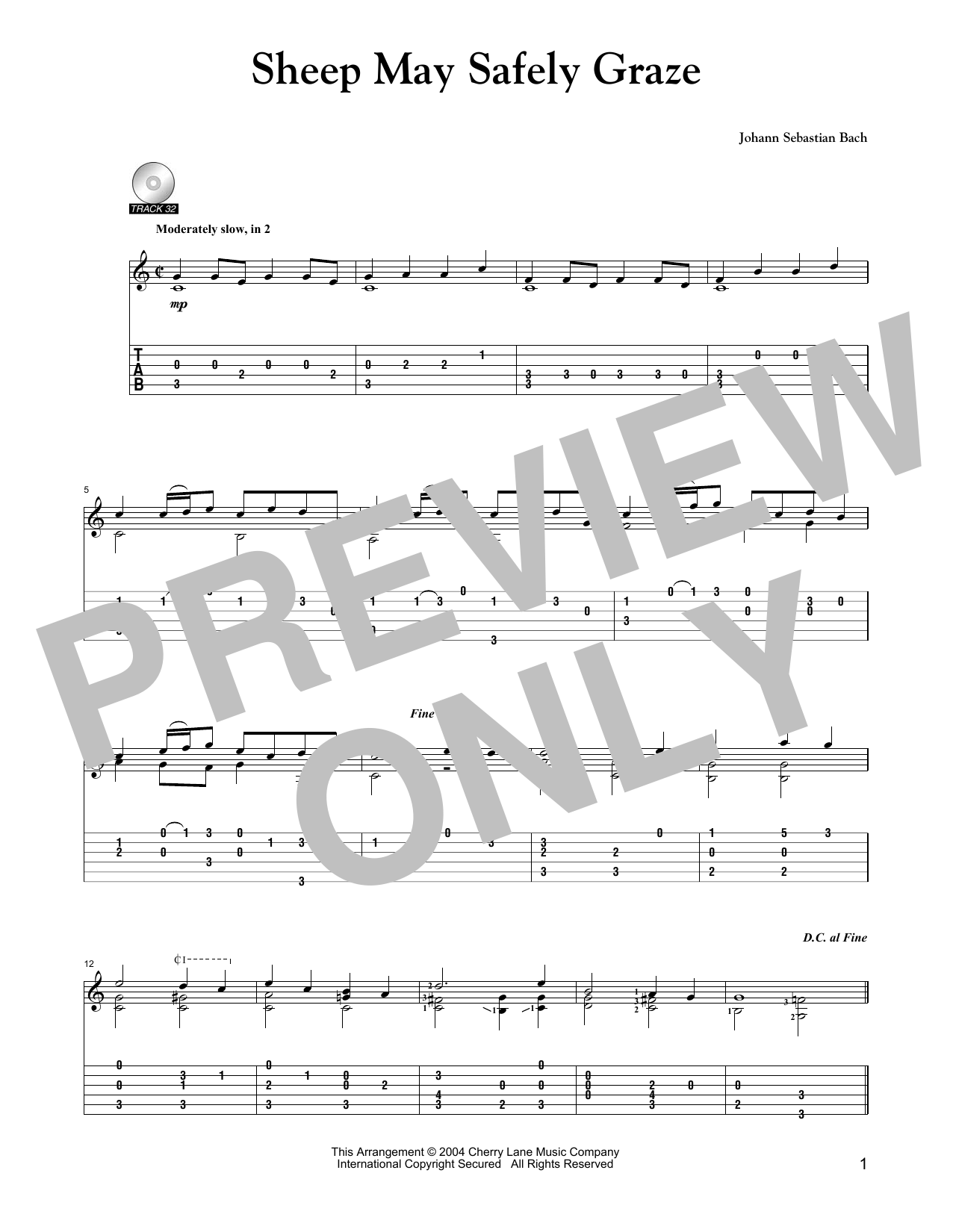 Sheep May Safely Graze (arr. Mark Phillips) (Solo Guitar)