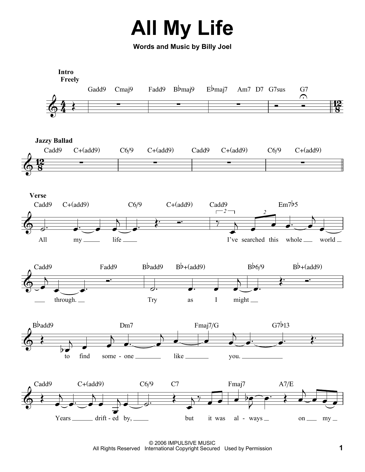 All My Life Sheet Music