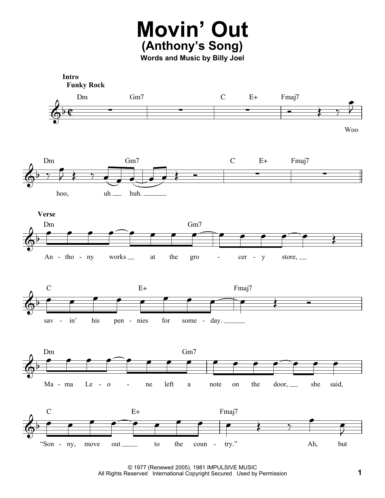 Movin' Out (Anthony's Song) Sheet Music