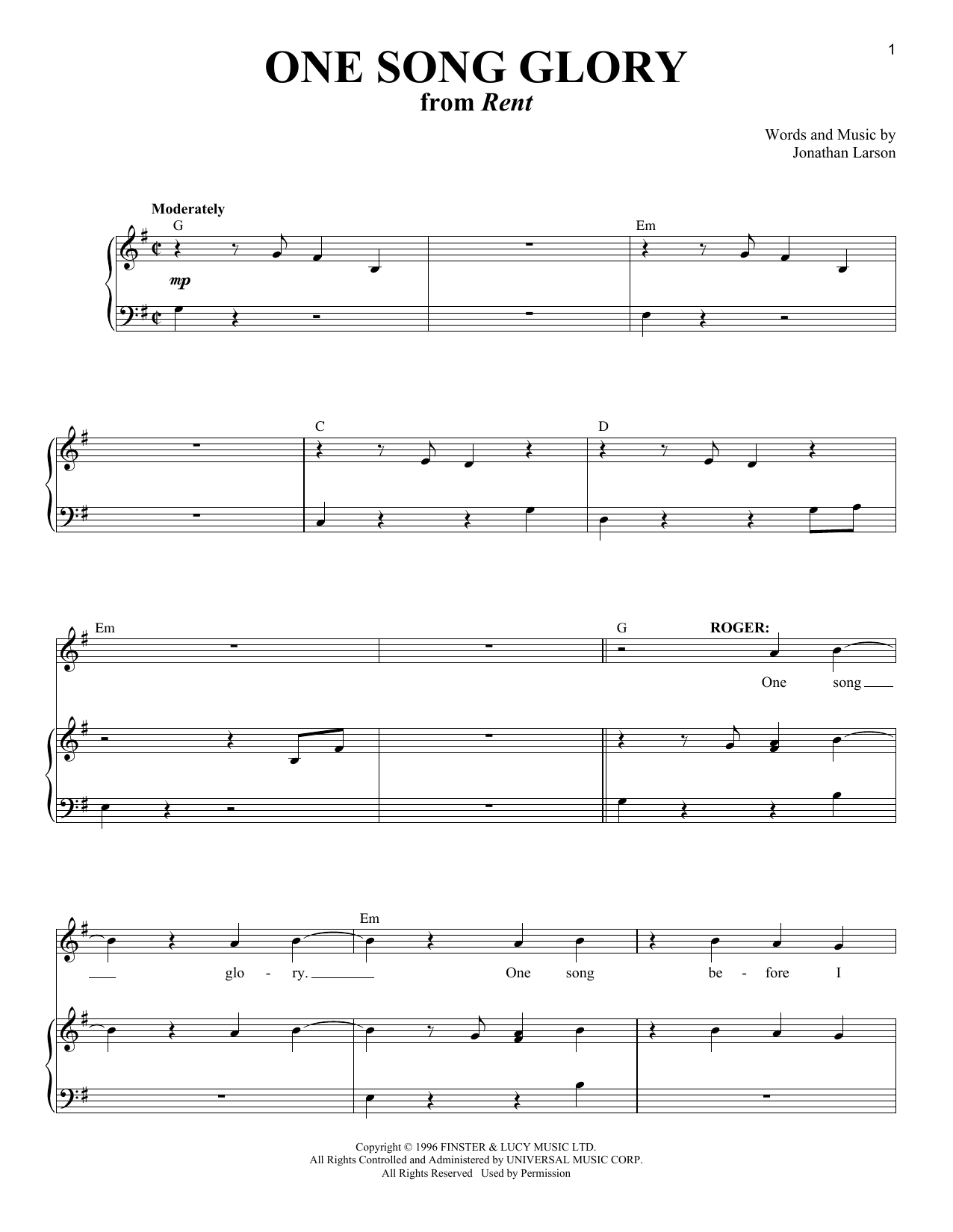 One Song Glory (from Rent) Sheet Music