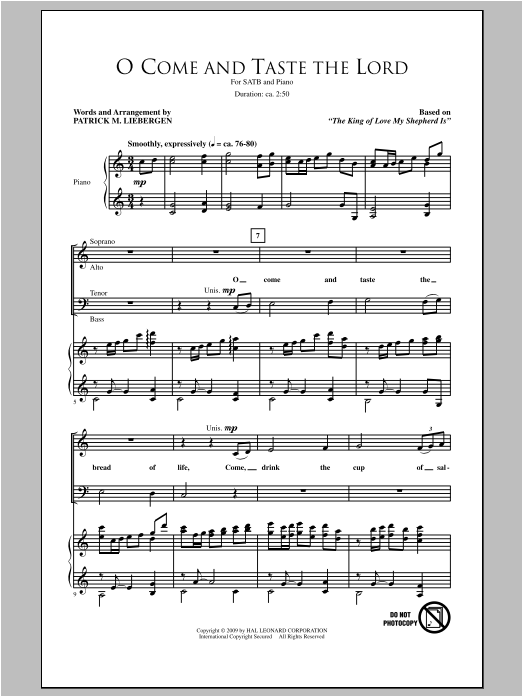 O Come And Taste The Lord Sheet Music