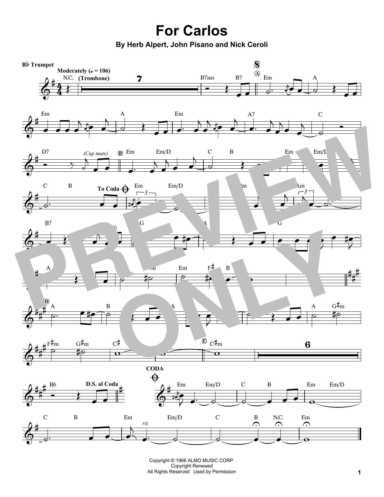 For Carlos Sheet Music