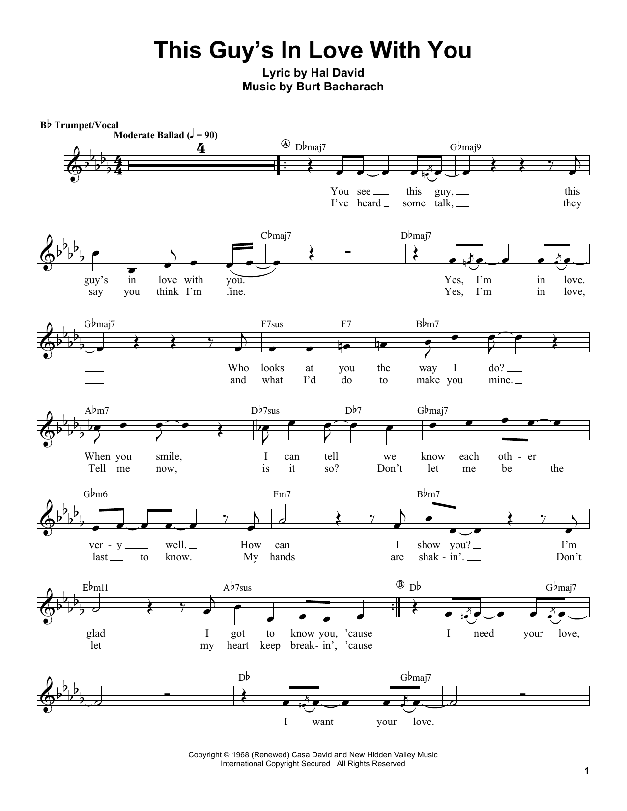 This Guy's In Love With You by Herb Alpert Trumpet Transcription Digital  Sheet Music