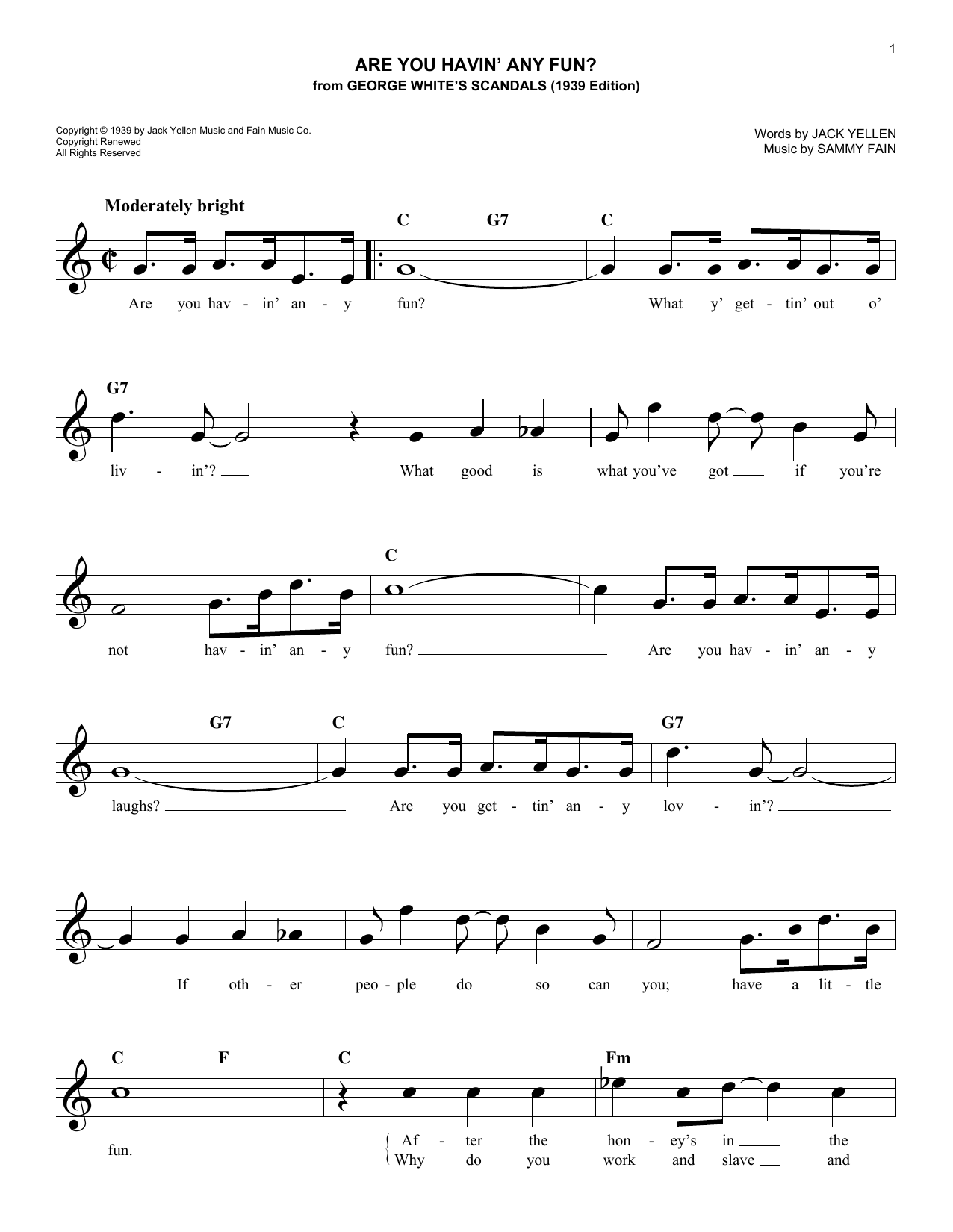 Are You Havin' Any Fun? Sheet Music