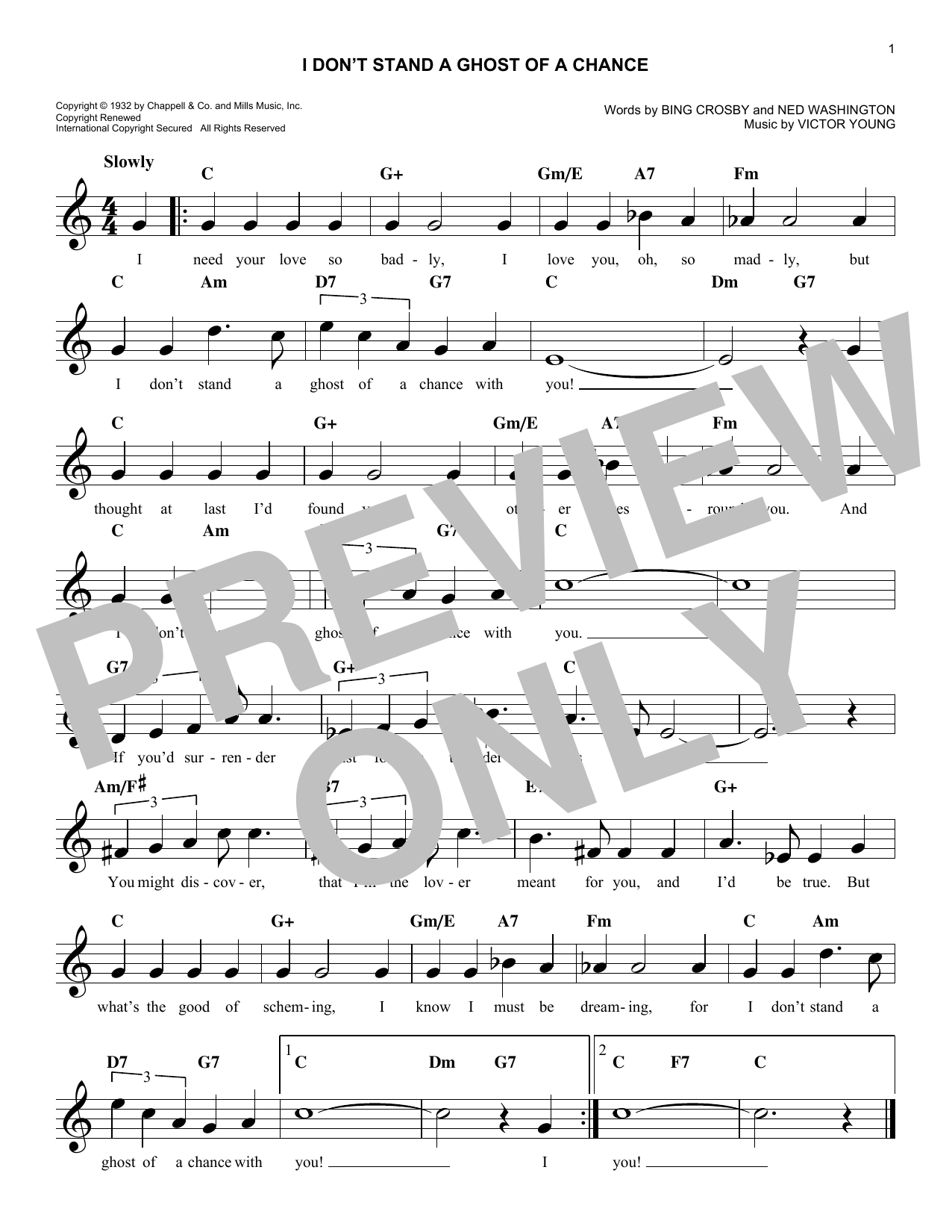 I Don't Stand A Ghost Of A Chance With You Sheet Music