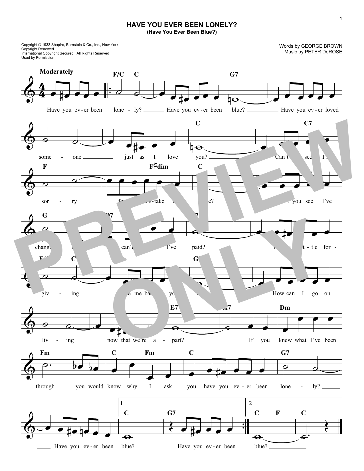 Have You Ever Been Lonely? (Have You Ever Been Blue?) Sheet Music