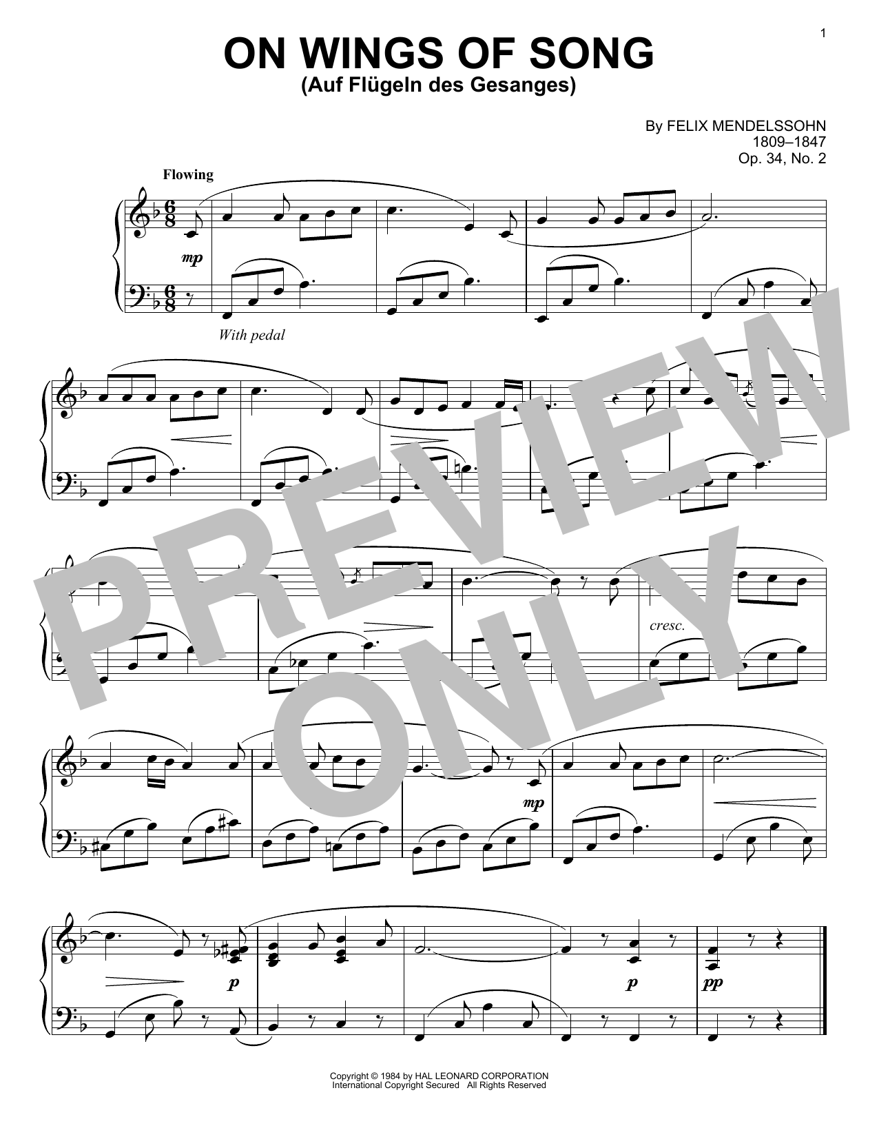 On Wings Of Song (Auf Flugeln Des Gesanges) Sheet Music