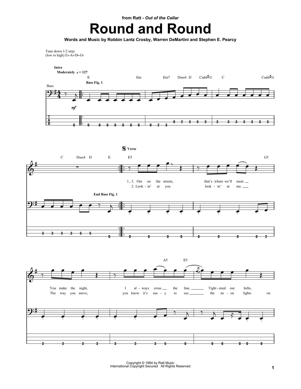 Round And Round (Bass Guitar Tab)