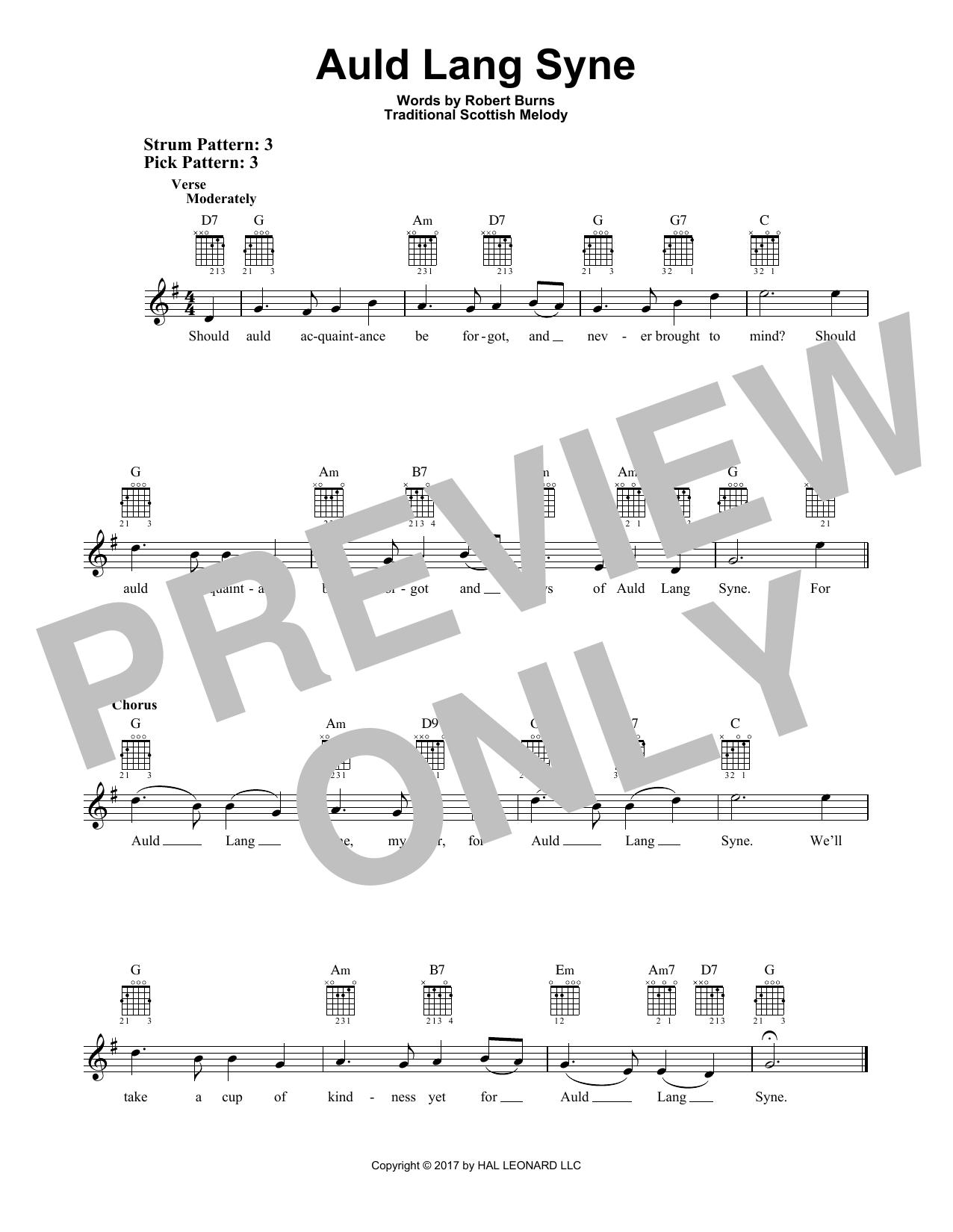 Auld Lang Syne (Easy Guitar)