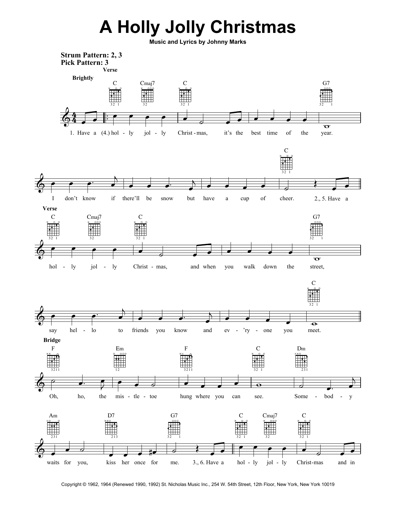 A Holly Jolly Christmas (Easy Guitar)