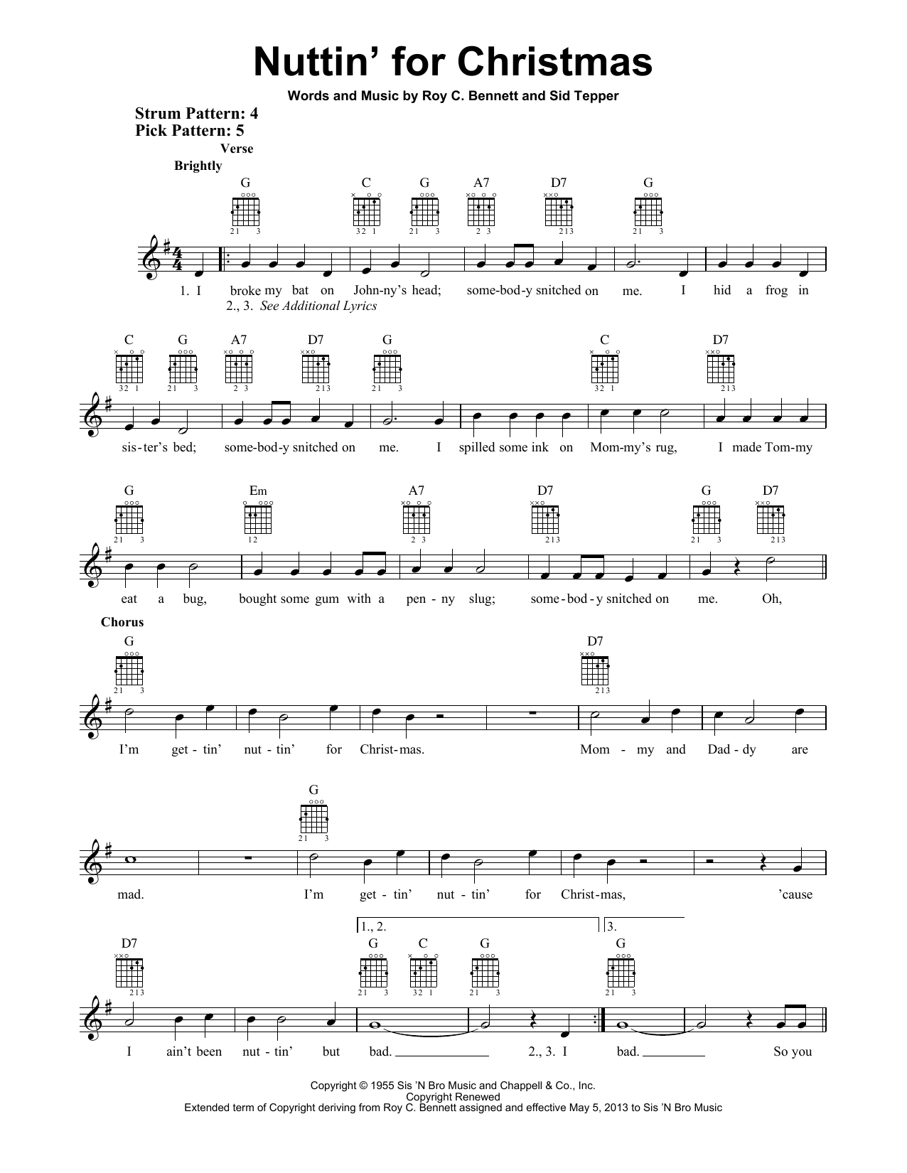 Nuttin' For Christmas (Easy Guitar)